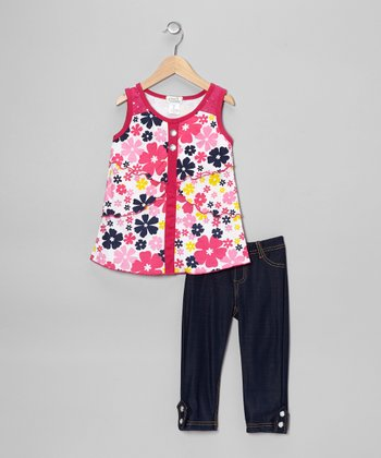 Fuchsia Flower Crystal Tunic & Jeggings - Toddler & Girls