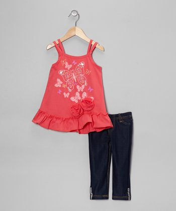 Coral Butterfly Rosette Tank & Jeggings - Toddler & Girls