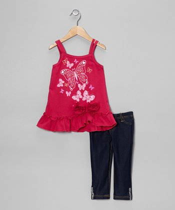 Fuchsia Butterfly Rosette Tank & Jeggings - Toddler & Girls
