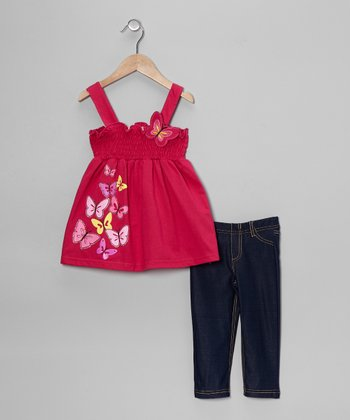 Fuchsia Butterfly Tank & Jeggings - Toddler & Girls