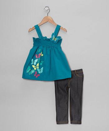 Teal Butterfly Tank & Jeggings - Toddler & Girls