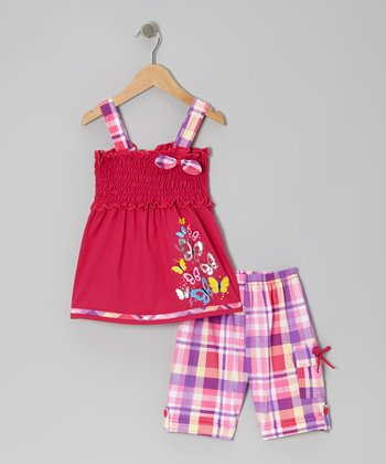Fuchsia Shirred Tank & Plaid Shorts - Toddler & Girls