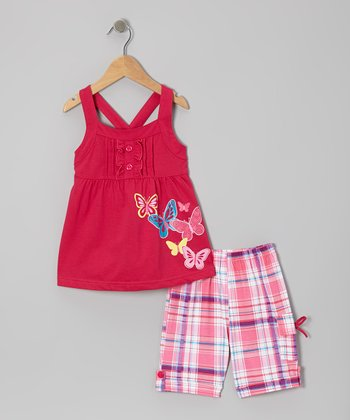 Fuchsia Butterfly Tunic & Plaid Shorts - Toddler & Girls