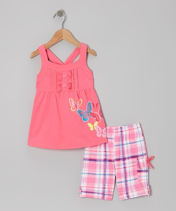 Pink Butterfly Tunic & Plaid Shorts - Toddler & Girls