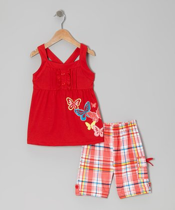 Red Butterfly Tunic & Plaid Shorts - Toddler & Girls