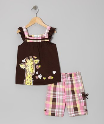 Brown Giraffe Angel-Sleeve Top & Plaid Shorts - Toddler & Girls