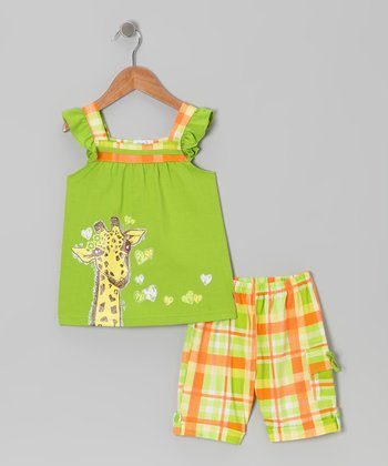 Lime Giraffe Angel-Sleeve Top & Plaid Shorts - Toddler & Girls
