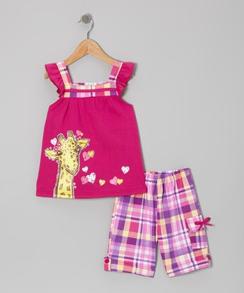 Raspberry Giraffe Angel-Sleeve Top & Plaid Shorts - Toddler & Girls