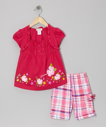 Fuchsia 'Princess' Layered Top & Plaid Shorts - Toddler & Girls