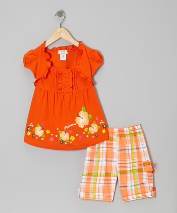Orange 'Princess' Layered Top & Plaid Shorts - Toddler & Girls