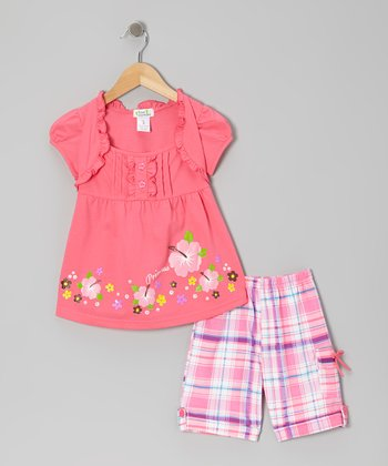 Pink 'Princess' Layered Top & Plaid Shorts - Toddler & Girls