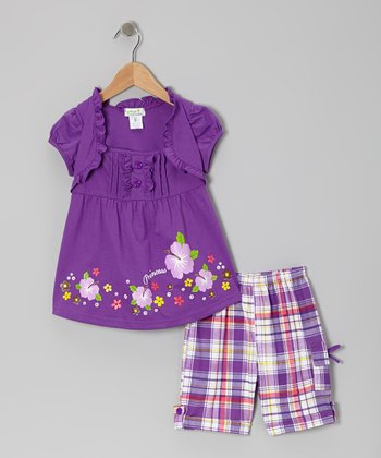 Purple 'Princess' Layered Top & Plaid Shorts - Toddler & Girls