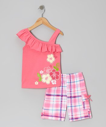 Pink Ruffle Blossom Top & Plaid Shorts - Toddler & Girls
