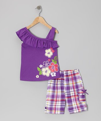 Purple Ruffle Blossom Top & Plaid Shorts - Toddler & Girls