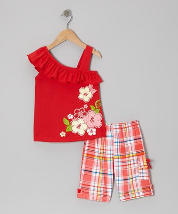 Red Ruffle Blossom Top & Plaid Shorts - Toddler & Girls