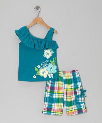 Teal Ruffle Blossom Top & Plaid Shorts - Toddler & Girls