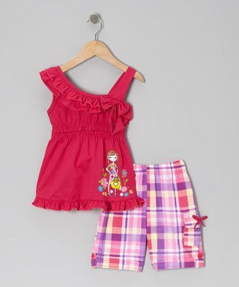 Fuchsia Ruffle Bow Tunic & Plaid Shorts - Toddler & Girls
