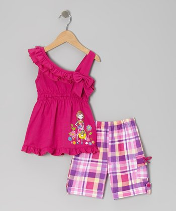 Raspberry Ruffle Bow Tunic & Plaid Shorts - Toddler & Girls