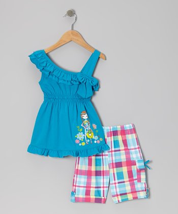 Turquoise Ruffle Bow Tunic & Plaid Shorts - Toddler & Girls