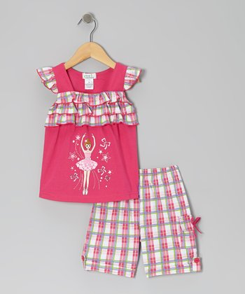 Fuchsia Ballerina Angel-Sleeve Top & Plaid Shorts - Toddler & Girls
