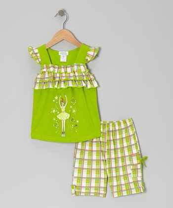 Lime Ballerina Angel-Sleeve Top & Plaid Shorts - Toddler & Girls