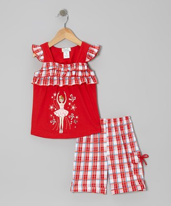 Red Ballerina Angel-Sleeve Top & Plaid Shorts - Toddler & Girls