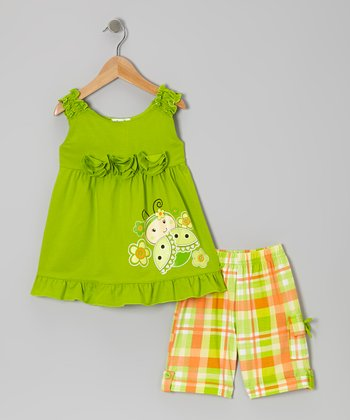Lime Blossom Ladybug & Plaid Shorts - Toddler & Girls