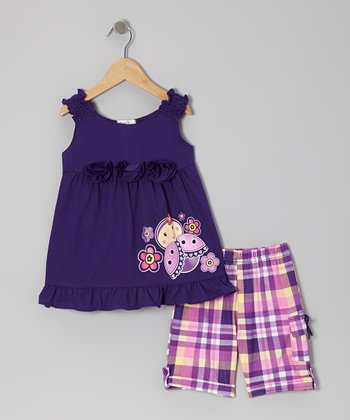 Purple Blossom Ladybug & Plaid Shorts - Toddler & Girls