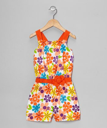 Orange Floral Romper - Toddler & Girls
