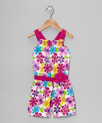 Raspberry Floral Romper - Toddler & Girls