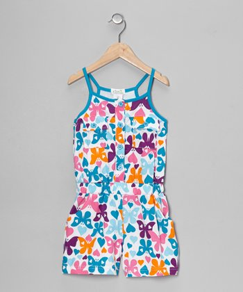 Turquoise Butterfly Romper - Toddler & Girls