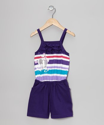 Purple Stripe Heart Ruffle Romper - Toddler & Girls