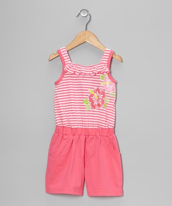 Pink Stripe Flower Romper - Toddler & Girls