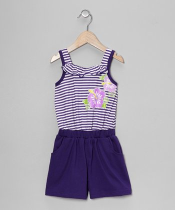 Purple Stripe Flower Romper - Toddler & Girls