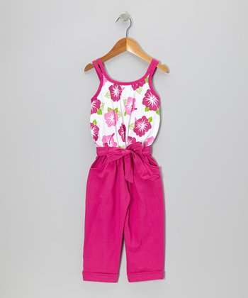 Fuchsia Floral Belted Jumpsuit - Toddler & Girls