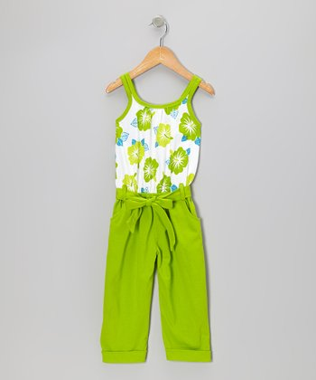 Lime Floral Belted Jumpsuit - Toddler & Girls