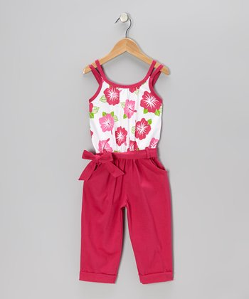 Raspberry Floral Belted Jumpsuit - Toddler & Girls