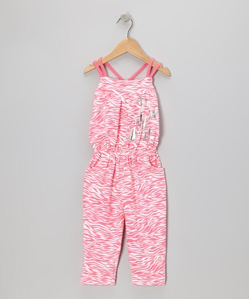 Pink Zebra Cross-Back Jumpsuit - Toddler & Girls