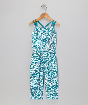 Teal Zebra Cross-Back Jumpsuit - Toddler & Girls