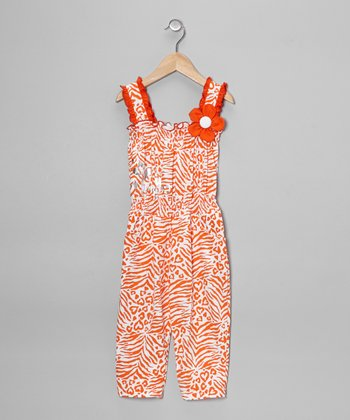 Orange Zebra Jumpsuit - Toddler & Girls