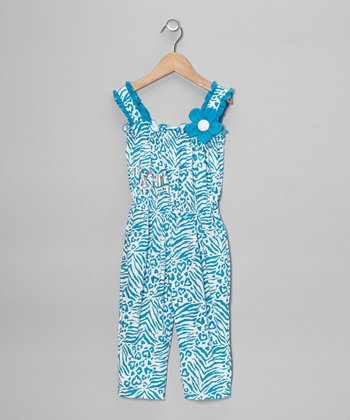 Teal Zebra Jumpsuit - Toddler & Girls