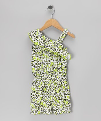 Lime Leopard Ruffle Asymmetrical Romper - Toddler & Girls