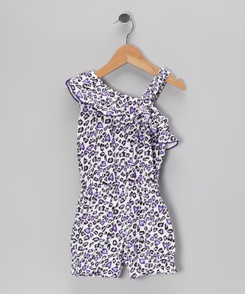 Purple Leopard Ruffle Asymmetrical Romper - Toddler & Girls