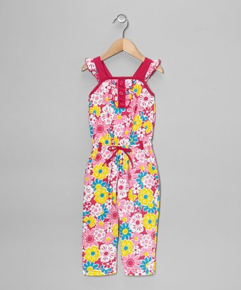 Fuchsia Floral Jumpsuit - Toddler & Girls
