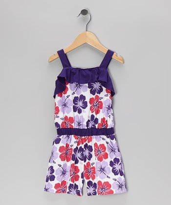 Purple Floral Ruffle Romper - Toddler & Girls