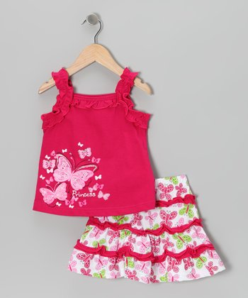 Fuchsia 'Princess' Butterfly Tank & Skirt - Toddler & Girls