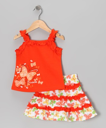 Orange 'Princess' Butterfly Tank & Skirt - Toddler & Girls