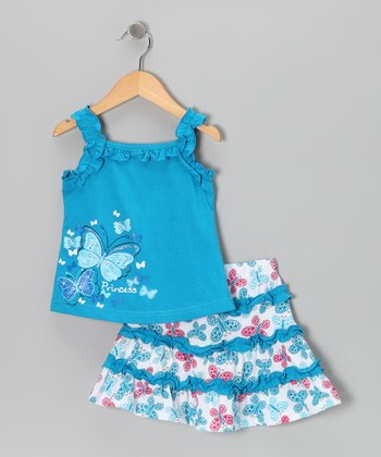 Turquoise 'Princess' Butterfly Tank & Skirt - Toddler & Girls