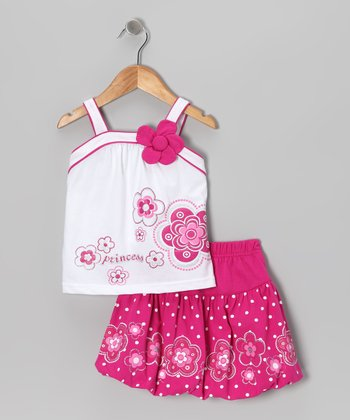 Fuchsia 'Princess' Flower Tank & Skirt - Infant, Toddler & Girls