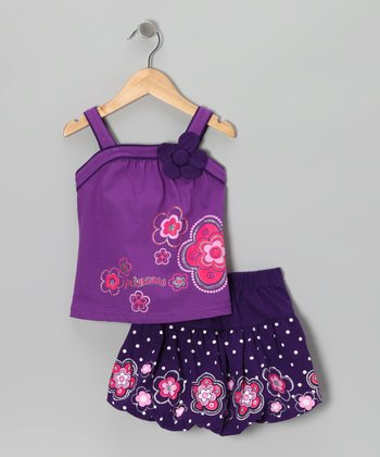 Purple 'Princess' Flower Tank & Skirt - Toddler & Girls
